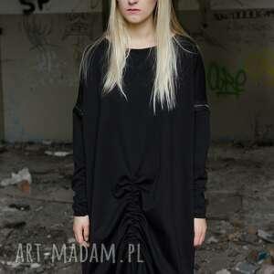 sukienki czarna prosta sukienk z zamkami i ściągaczem
