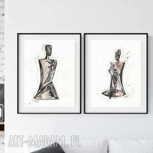 zestaw 2 grafik 30x40 cm wykonanych ręcznie, abstrakcja, 2635550, obraz ręcznie