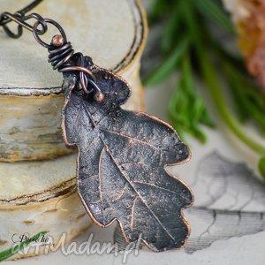 oak - naszyjnik z liściem dębu, dąb, liść, wisior, naszyjnik, pociecha
