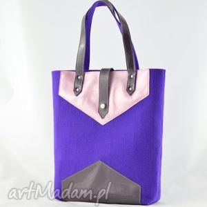 ręcznie zrobione na ramię promocja -duża torba filc i skóra - fiolet