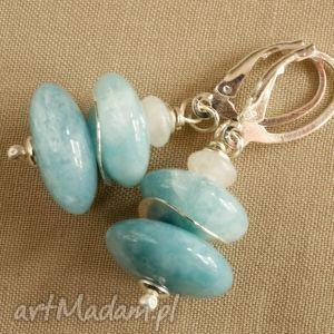 Kolczyki ze srebra i błękitnego kwarcu, tilia, pastelowe, delikatne, kobiece, lazur