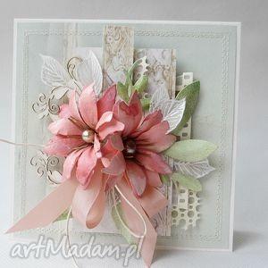 miętowa kartka, życzenia, kwiaty, gratulacje, urodziny