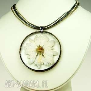 Prezent z117 Naszyjnik z suszonymi kwiatami, Herbarium Jewelry, kwiaty w żywicy