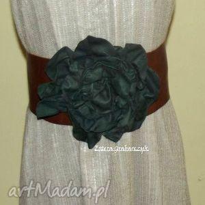 zielona róża - pasek, rękodzieło, skóra, moda, orginalny