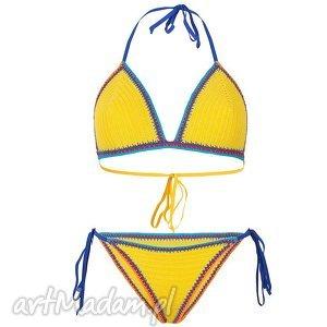 Kostium kąpielowy Santorini w kolorze żółtym szydełkowy, kostium, bikini, szydełkowe