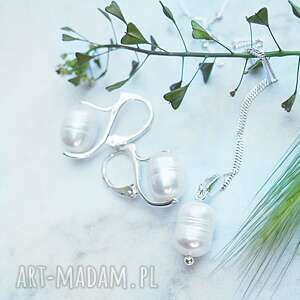 Srebrny komplet z perłami silvella biżuterii, srebrny, perły