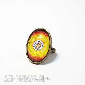 pierścionek - shri yantra owalny, pierścionek, mandala, shri, yantra, owalny