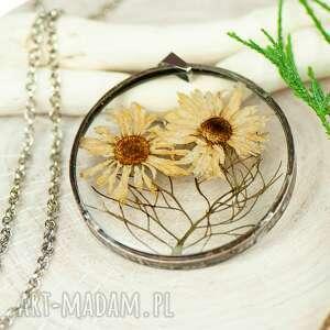 naszyjniki naszyjnik z kwiatów w cynowej ramce z386, biżuteria żywicy