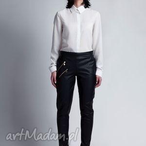 Spodnie, SD108 skóra, spodnie, rurki, zamki, suwaki, eleganckie