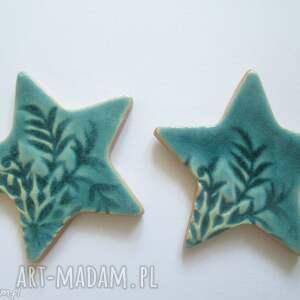 magnesy turkusowe, ceramiczne, świąteczne, gwiazdki, ozdoby, święta prezent