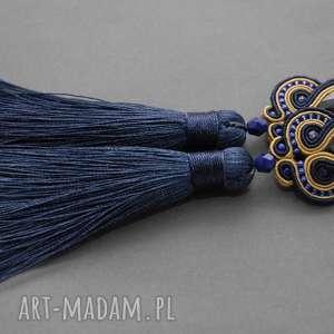kolczyki sutasz z chwostami, sznurek, wieczorowe, wiszące, długie, eleganckie