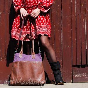 handmade na ramię fiella - duża torba zgaszony fiolet