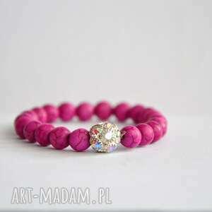 bracelet by sis różowe kamienie z cyrkoniową kulą, cyrkonie, różowy