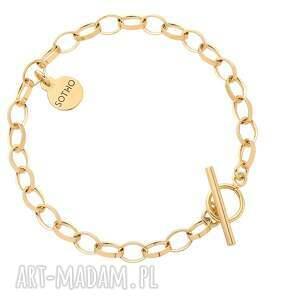 złota masywna bransoletka z ozdobnym zapięciem - pozłacana