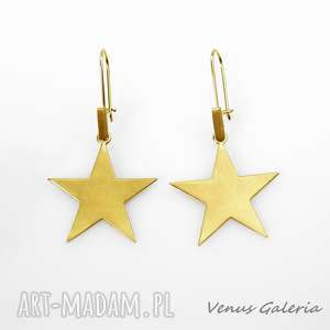 złote gwiazdki - kolczyki srebrne pozłocone, srebro, kolczyki