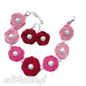 kolczyki i bransoletka komplet sutasz w odcieniach różu, sutasz, soutache