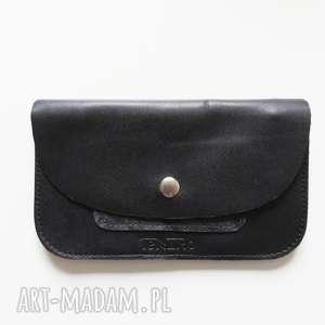 handmade portfele portmonetka skórzana czarna z zatrzaskiem