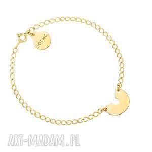 złota bransoletka z blaszką - bransoletka, zawieszka, łańcuszkowa, blaszka