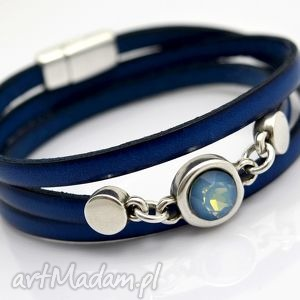 Bransoletka skórzana magnetoos triple cristal blue beezoo
