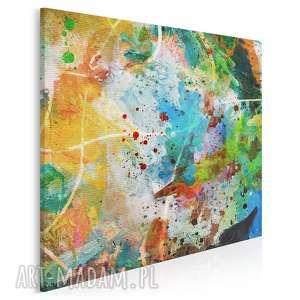 obraz na płótnie - abstrakcja kolory w kwadracie 80x80 cm (58102)