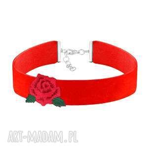 hand made naszyjniki czerwony choker z różą - folk