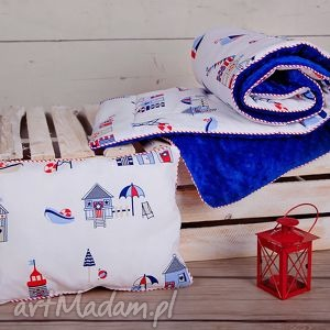 Kocyk/kołerka minky poduszka, minky, marine, marynarski, promocja, kocyk, kadaro