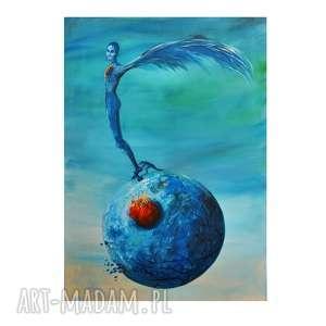 trzepot upartych piór, oryginalny obraz ręcznie malowany, surrealizm