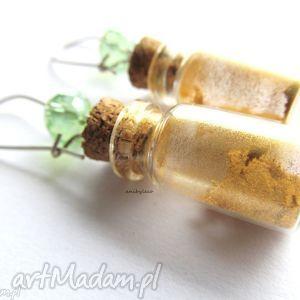 kolczyki butelka ze złotym pyłem, kolczyki, słoiczek, butekla, miniaturka
