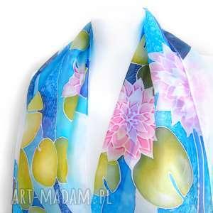 chustki i apaszki szal jedwabny lilie wodne nenufary ręcznie malowany na habotai