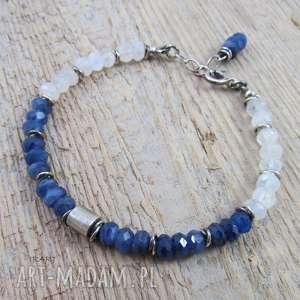Walec z kyanitem i kamieniem księżycowym, kyanit, księżycowy, srebro, oksydowane