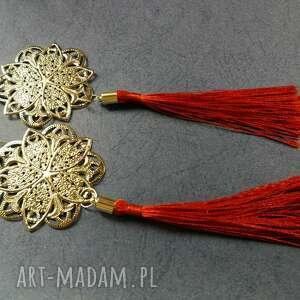 klipsy etno boho długie wiszące orientalne chwosty - box x1- kolor srebrno