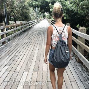na ramię lekki plecak jeansowy z denkiem, basic, jesień, street wear, minimalizm