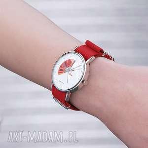 zegarek - japoński wachlarz czerwony, nato, zegarek, bransoletka, nato
