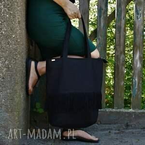 na ramię shopper boho czerń, vegan, lato, boho, shopper, frędzle, torba