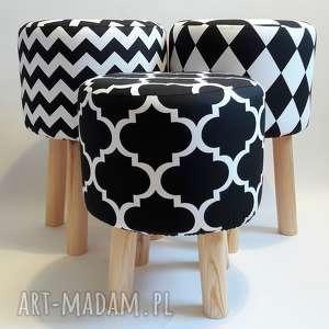 Pufa Koniczyna Maroco Czarno - Biała - 36 cm, puf, taboret, stołek, ryczka
