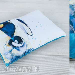 Prezent Poduszka- Pingwiny, poduszka, ozdoba, prezent, minky, pingwin