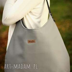 na ramię torba worek szary z granatem, torba, torebka, ramie, shoperbag