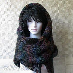 ręcznie robiony szal, otulacz, oversized zima, oversize dodatki, kobieta