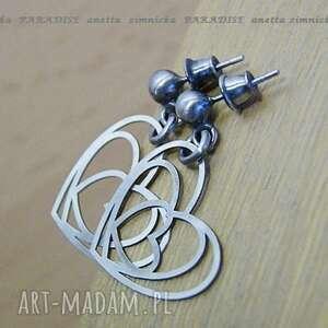 srebro kolczyki srebrne serca, srebro, sztyfty, zawieszki, serce