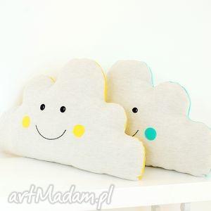 Chmura, poduszka, poducha, chmura, chmurka, żółta, groszki