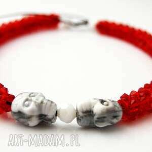 ręcznie wykonane naszyjniki naszyjnik red skull