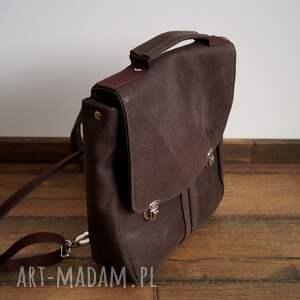 hand-made prl plecak/teczka skóra naturalna ciemny brąz