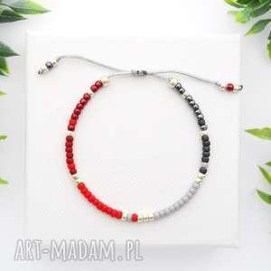 bransoletka koralikowa minimal - grey and red, bransoletki, koralikowe, modna