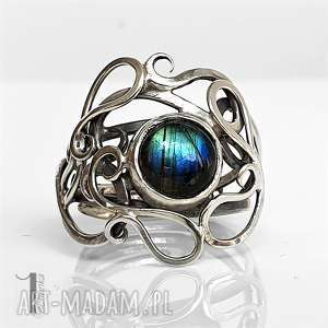 medusa srebrny pierscień z labradorytem, pierścionek, srebrny, regulowany, labradoryt