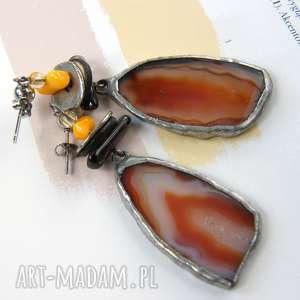 Duże kolczyki z brązowym agatem witrazka kolczyki, wiszące