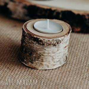 świeczniki Świecznik brzozowy na 1 tealight / drewniany świecznik pojedynczy