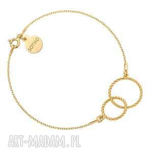 złota bransoletka z dwoma obręczami - kółeczka pozłacana