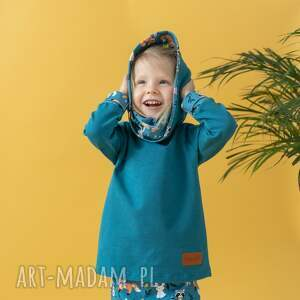 bluza dla dziecka z komino-kapturem leśni przyjaciele, kominem