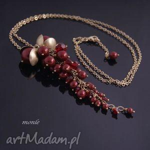 Bordo wisior z pereł Swarovski - ,bordo,wisior,pozłacane,srebro,swarovski,perły,