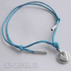 serduszko bransoletka, srebro, zmatowione, sznurek, prezent na święta